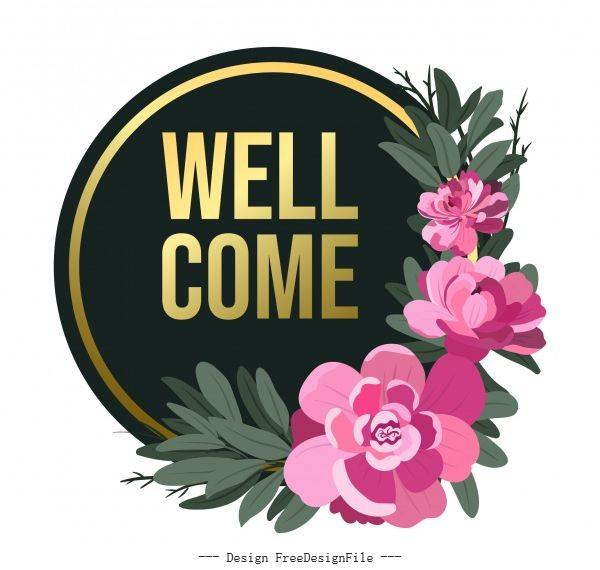 Welcome sign template elegant petals decor circle shape vector