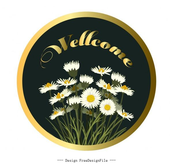 Welcome template floral shiny modern vector