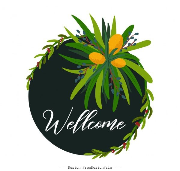 Welcome sign template plants circle isolation vector set