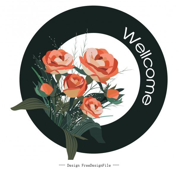 Welcome sign template roses circle vector