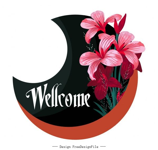Welcome sign template and flower crescent shape vector design
