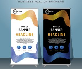White and black background business roll up banners vector