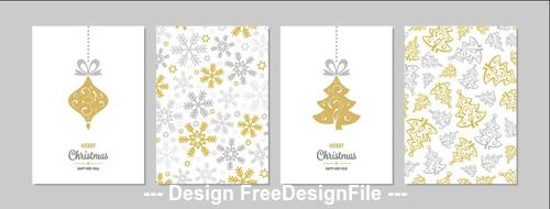 White background christmas greeting card collection vector
