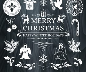 White label christmas element new year greeting card vector