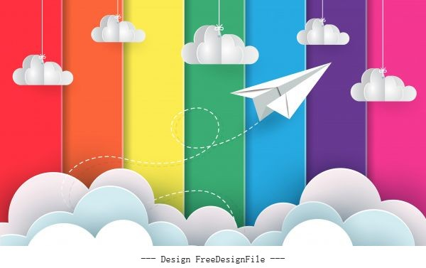 Planes fly background rainbow colorful flying vector