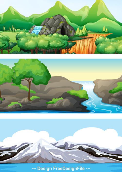 Wild nature landscape vector