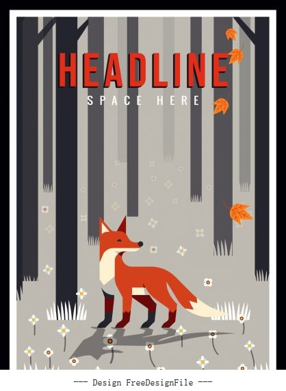 Wild natural background fox forest classical vector graphics