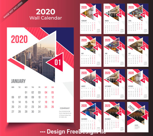 Wine red wall calendar 2020 template vector