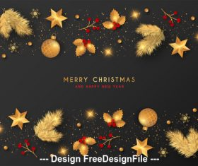 Winter element christmas banner vector