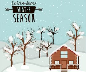 Winter house and tree snow scene vector