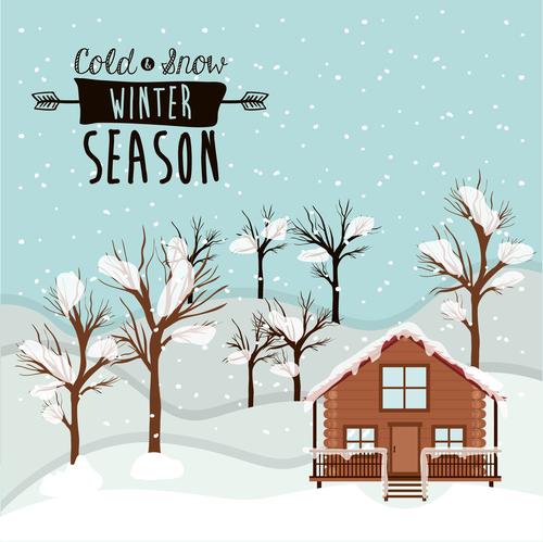 Winter house and tree snow scene vector