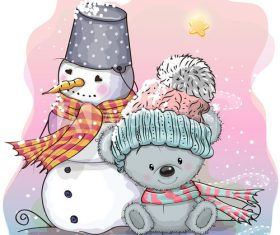 Winter outdoor bear and snowman cartoon vector