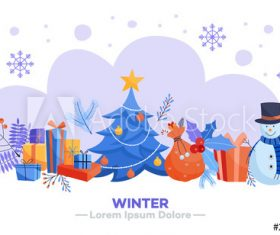 Winter style cartoon illustration vector