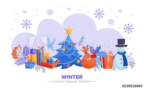 Winter style cartoon illustration vector
