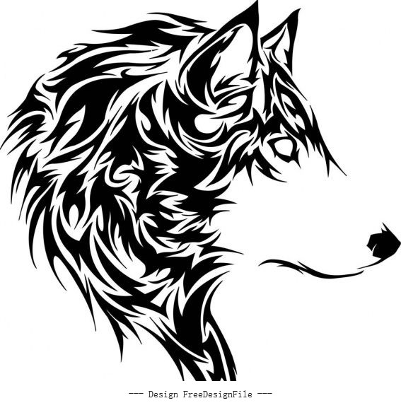 Wolf stencil free cdr s art vector