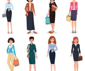 Woman in different dresses vector