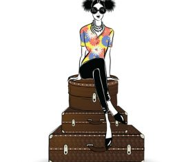 Woman sitting on suitcase vector