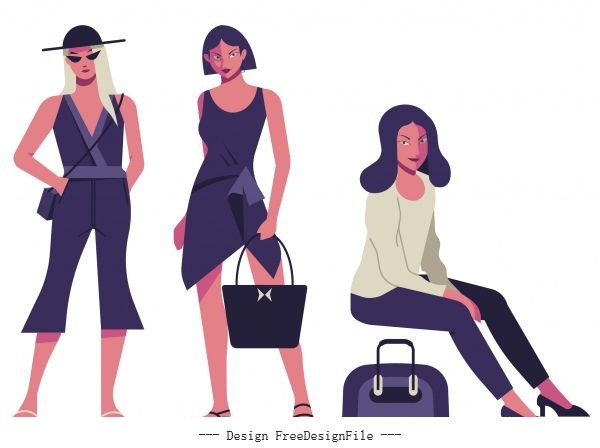 Woman fashion icons contemporary colored cartoon characters vector
