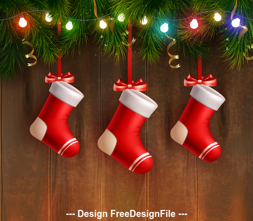 Wooden background Christmas decoration card vector