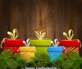 Wooden background christmas gift box vector