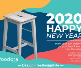 Wooden bench background calendar 2020 vector