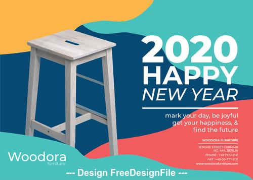 Wooden bench background calendar 2020 vector