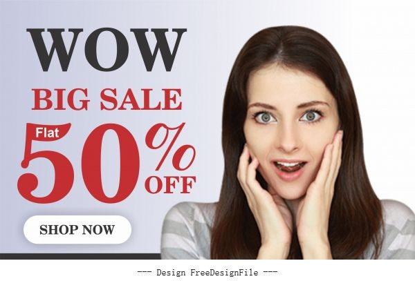 Wow big sale post or web banner vector