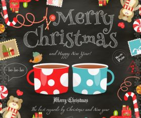 Xmas card chalk coffee vector