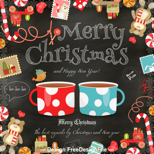 Xmas card chalk coffee vector