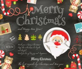 Xmas card chalk santa vector