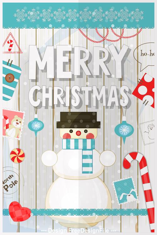Xmas poster snowman vector