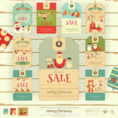 Xmas sale tags white vector