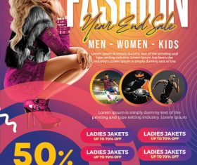 Year and sale fashion flyer psd template