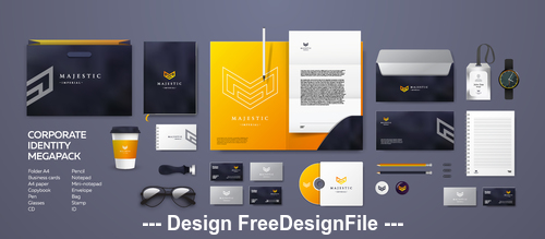Yellow and black background corporate branding identity template vector