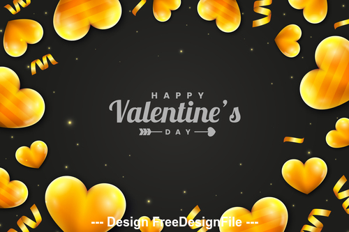 Yellow heart shape black background valentines day greeting card vector