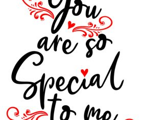 You are so srecial to me Valentine day card vector