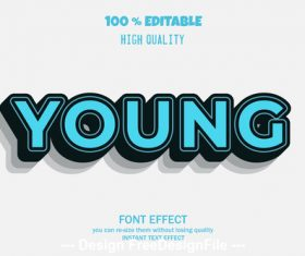 Young 3d font effect style illustration vector
