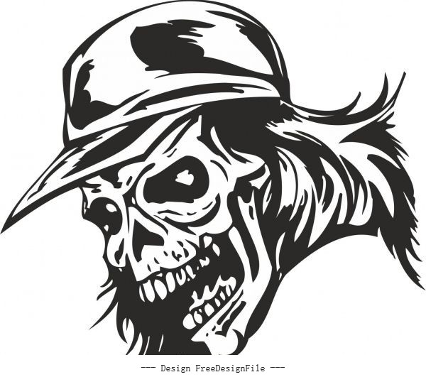 Zombie skull with cap sticker free vector