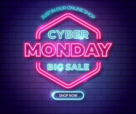 big sales cyber monday neon design lights vector