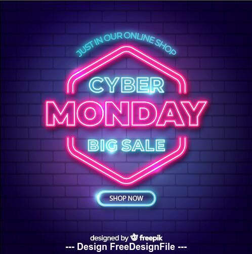 big sales cyber monday neon design lights vector