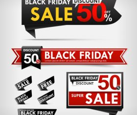 black friday web tag banner promotion sale discount style vector
