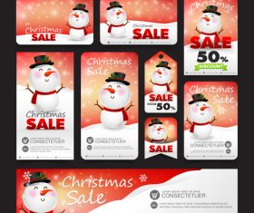 christmas sale with snowman web tag banner promotion sale discount style vector