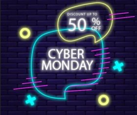 cyber monday concept with neon design vector
