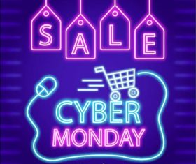 cyber monday concept with neon style vector