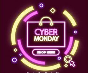 cyber monday sale neon banner vector
