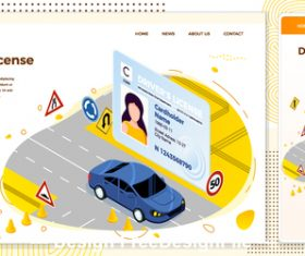 drivers license cartoon cover vector