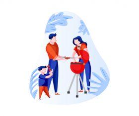 family BBQ cartoon vector