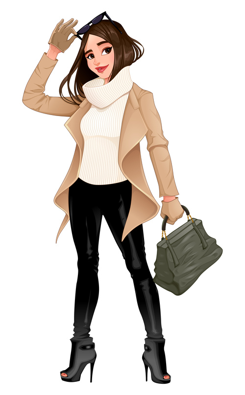 fashion girl posing with sunglasses in her hands vector