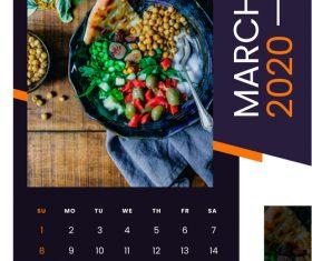 food 2020 wall calendar vector