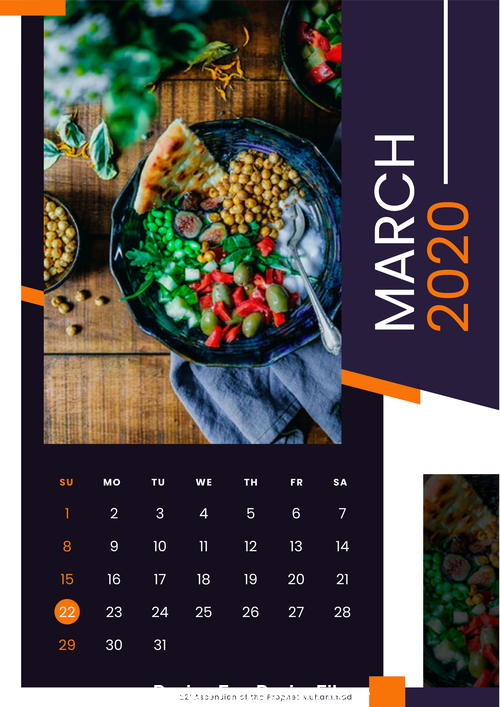 food 2020 wall calendar vector